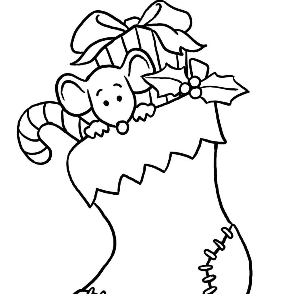 Santa Stocking Coloring Page With Printable Christmas Pages