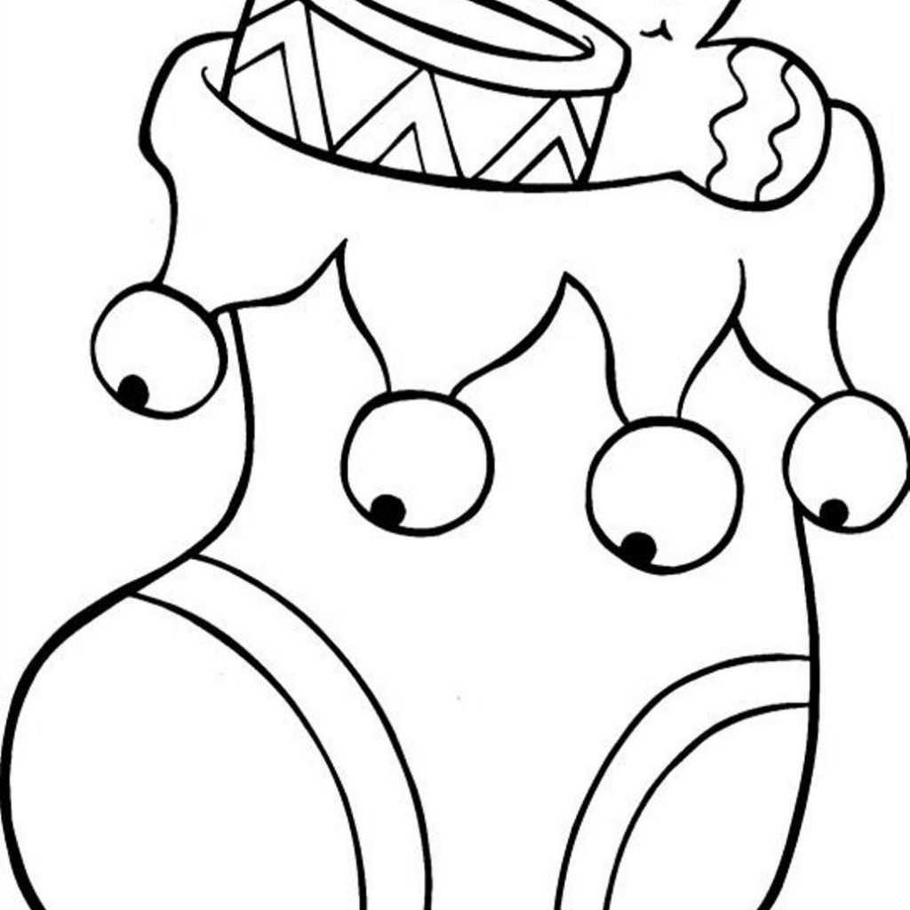 Santa Stocking Coloring With Christmas Pages Coloringsuite Com