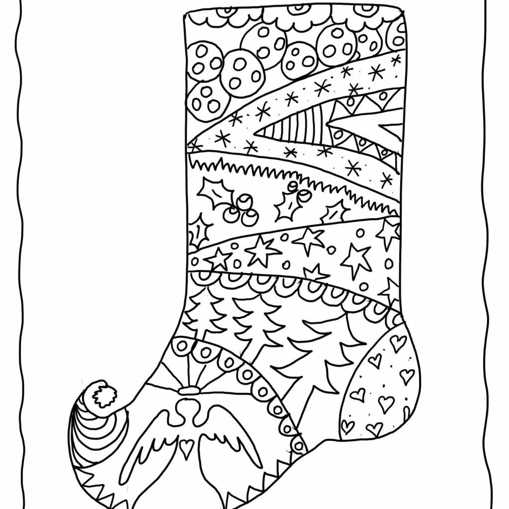 Santa Stocking Coloring With Christmas Pages For Adults Printable