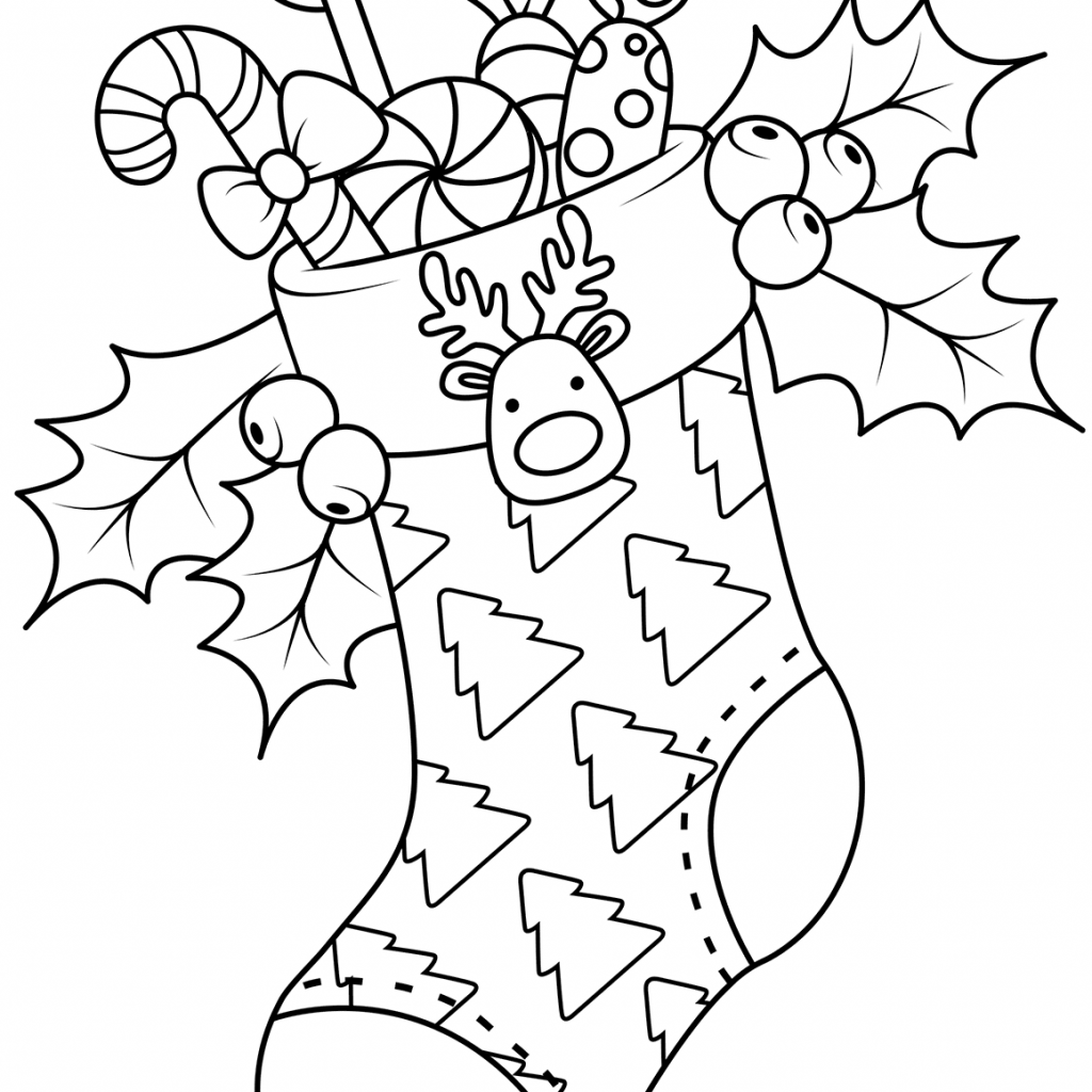 Santa Stocking Coloring With Christmas Stockings Pages Free