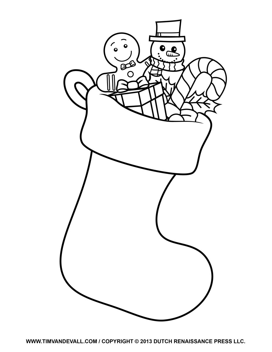 Santa Stocking Coloring With Christmas Template Printable 2018 Business Idea