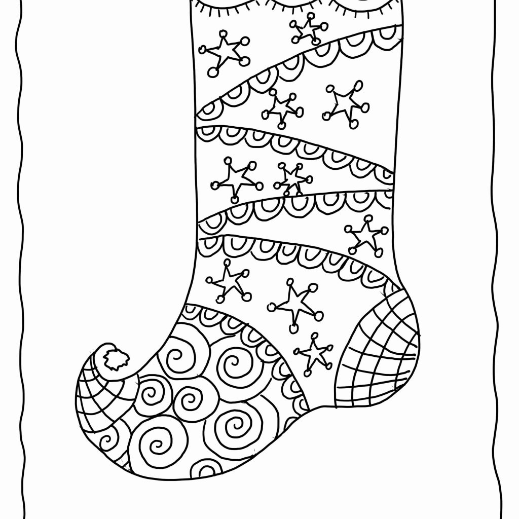 Santa Stocking Coloring With Printable Christmas Stockings Refrence