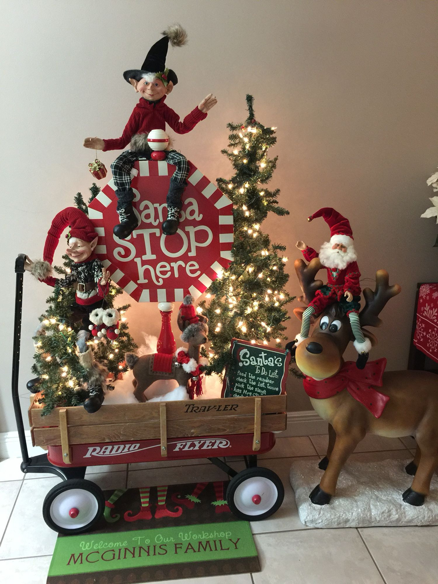 Santa Stop Here Coloring Page With Christmas Decorations Beautiful Stops Raz Elf Radio