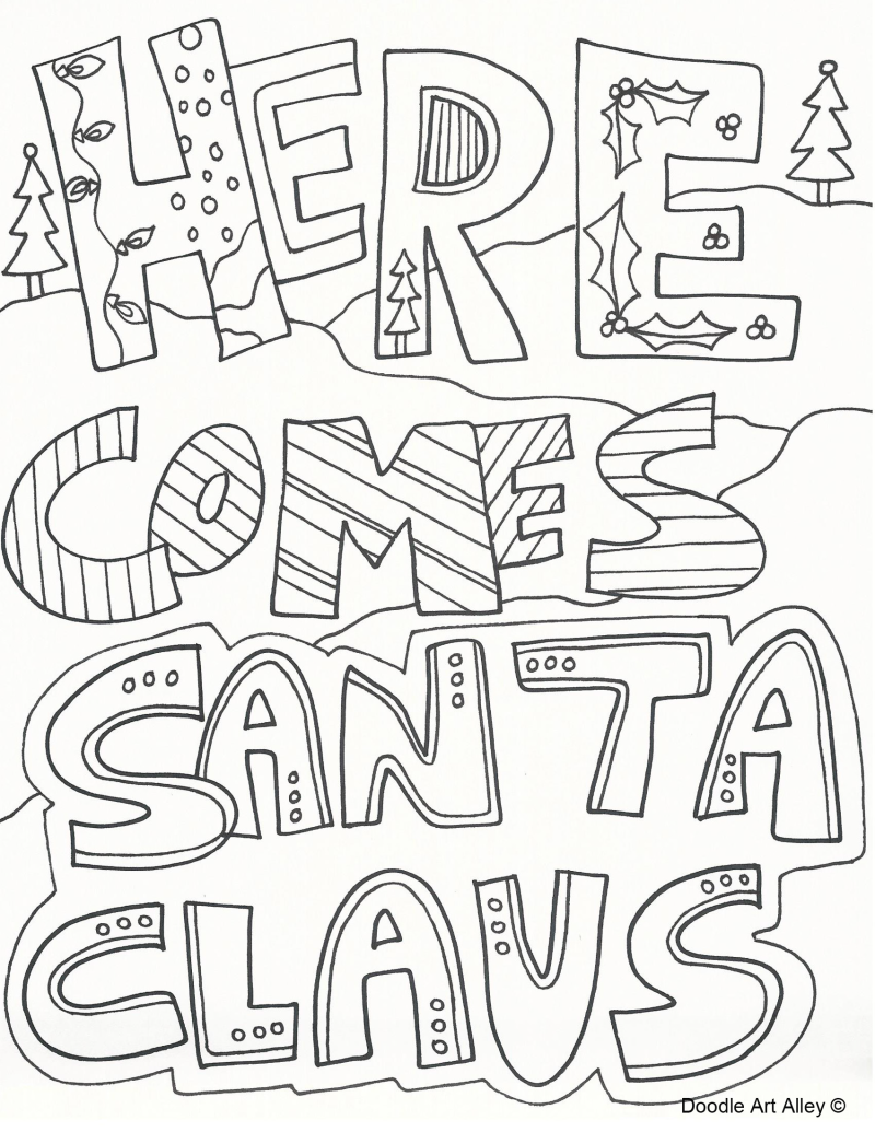 Santa Stop Here Coloring Page With Download And Print FREE Christmas Colouring Pages