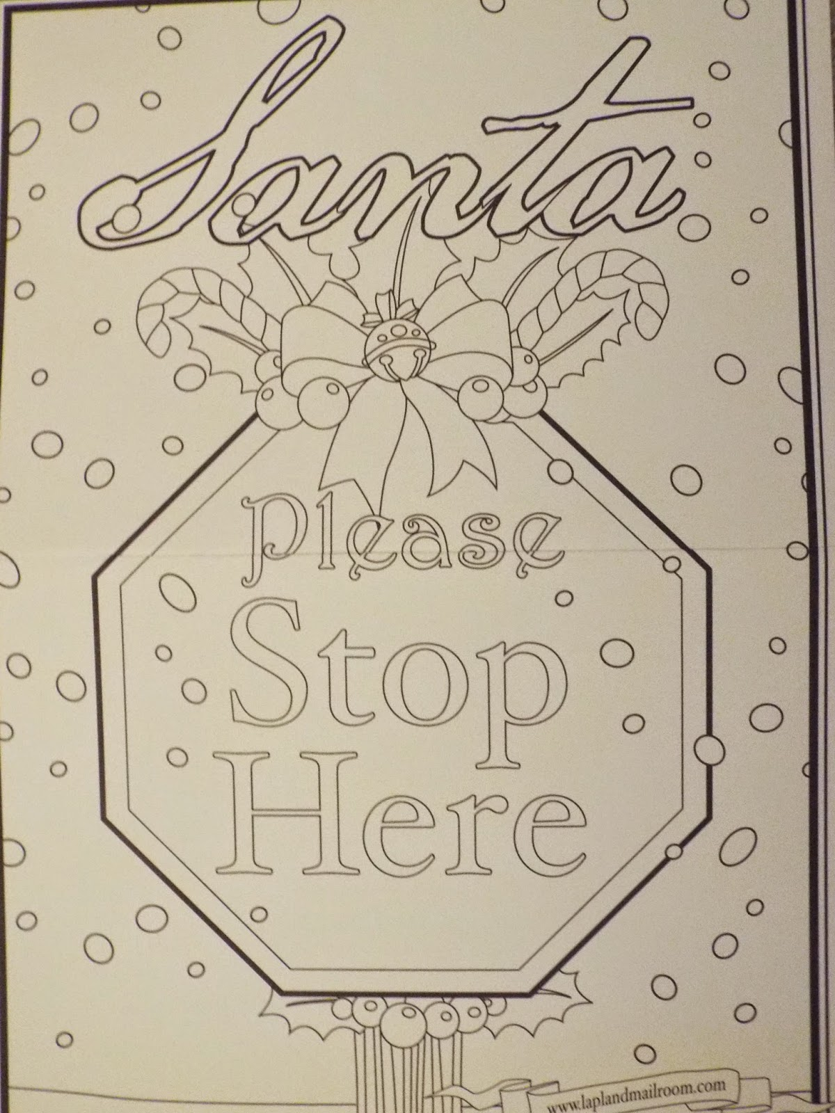 Santa Stop Here Coloring Page With Hijacked By Twins Lapland Mailroom A Letter From