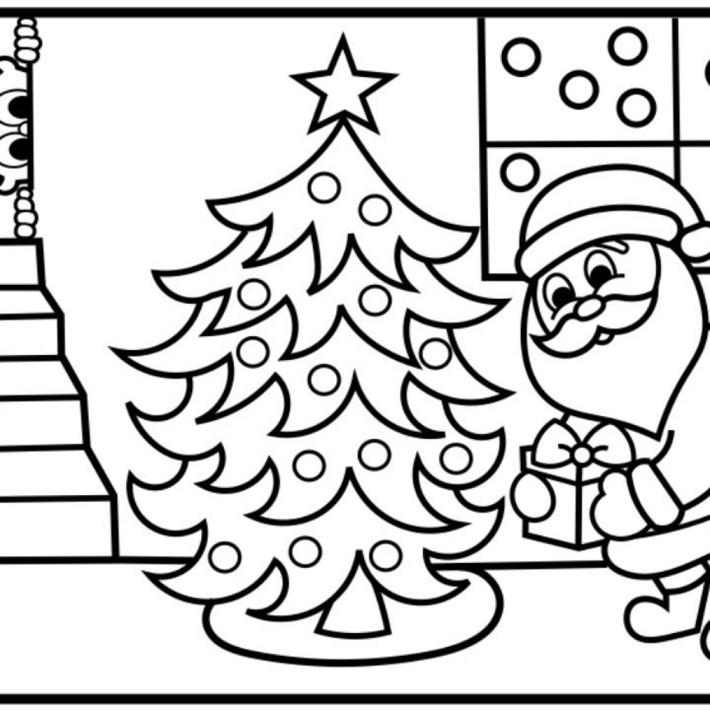 Santa Stop Here Coloring Page With How To Draw Putting Presents Under Tree Pages