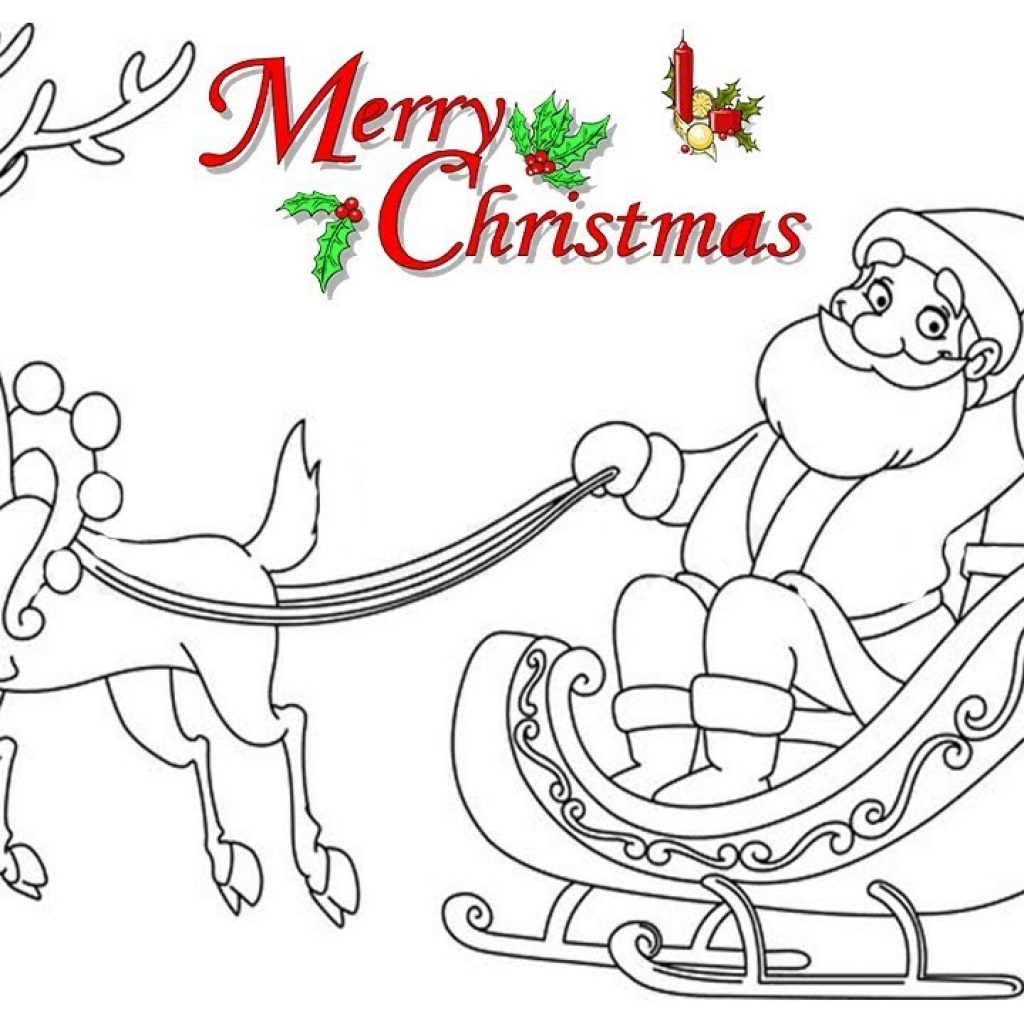 Santa Stop Here Coloring Page With HOW TO DRAW SANTA CLAUSE ON SLEIGH COLORING PAGES For KIDS LEARN