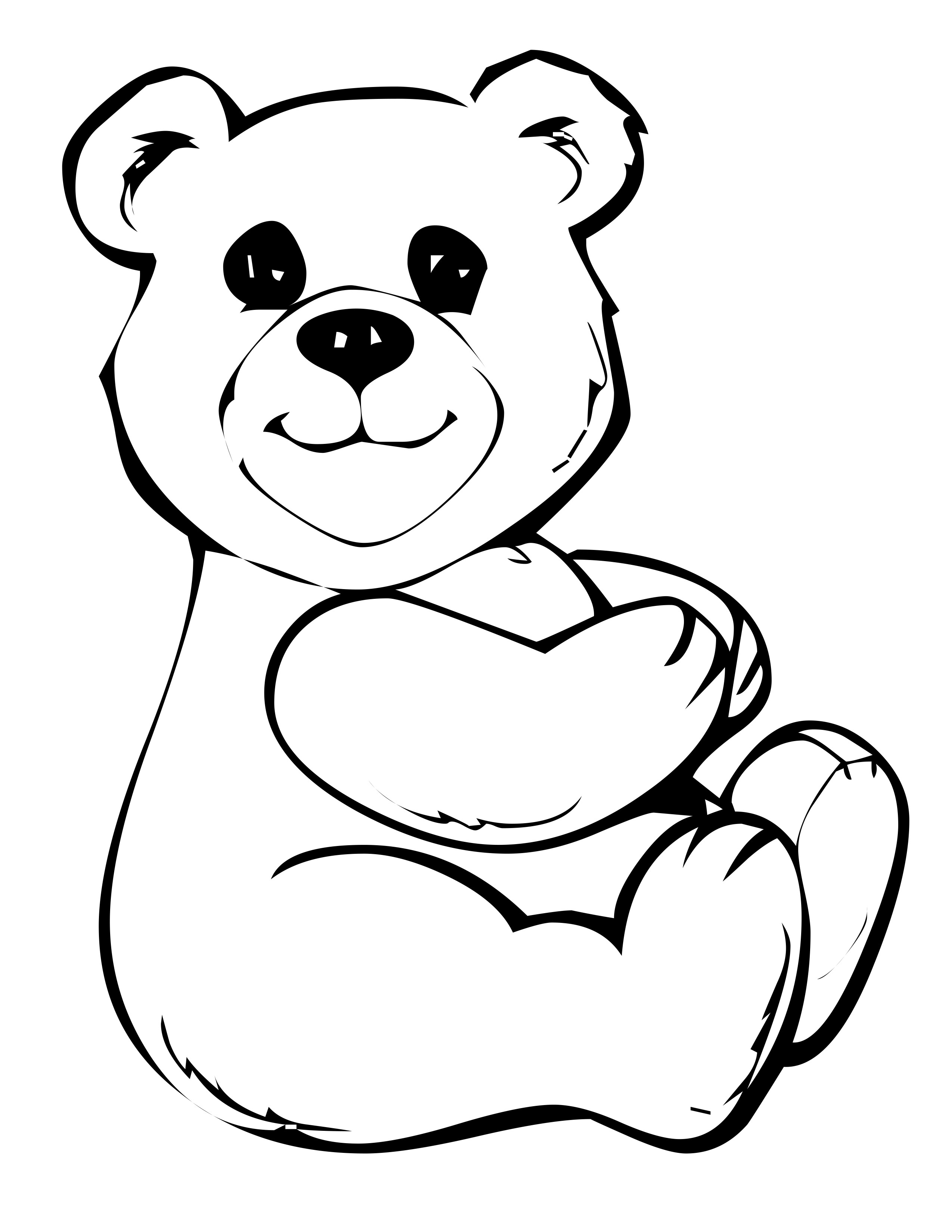 Santa Suit Coloring Page Getcoloringpages With Cute Bear 2160492