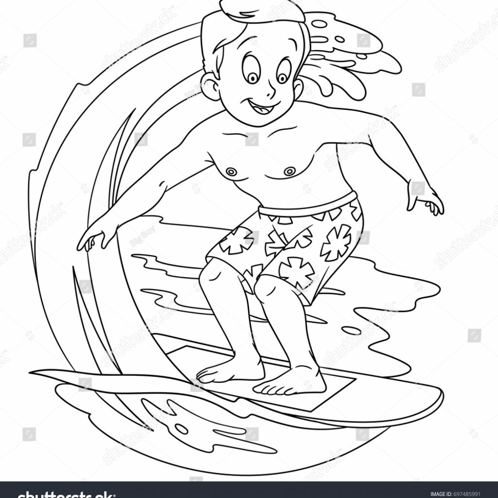 Santa Surfing Coloring Page With Cartoon Boy On Stock Vector Royalty Free