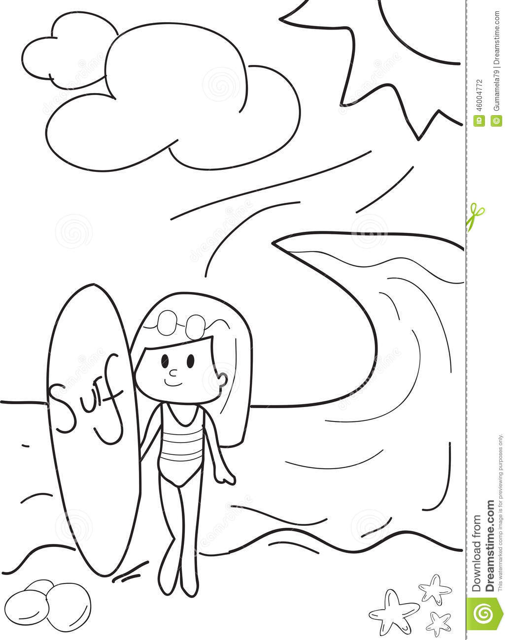 Santa Surfing Coloring Page With Pages