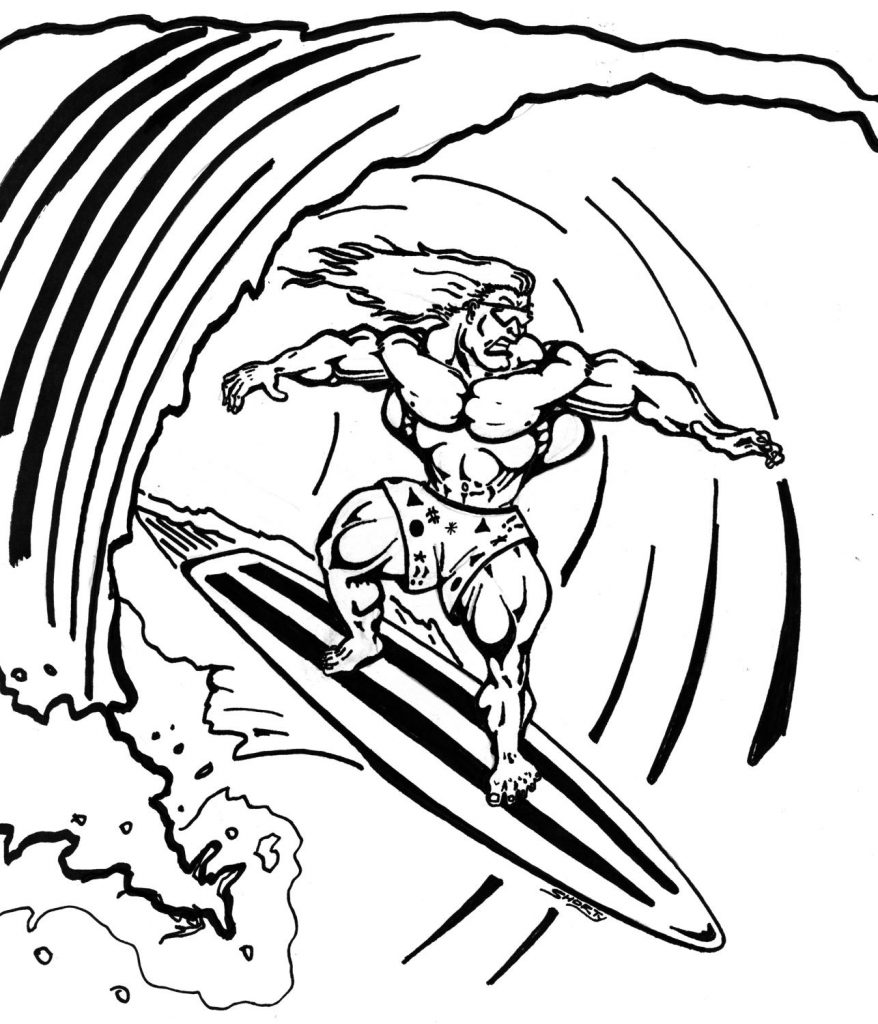 Santa Surfing Coloring Page With Pages Lihatsinopsis