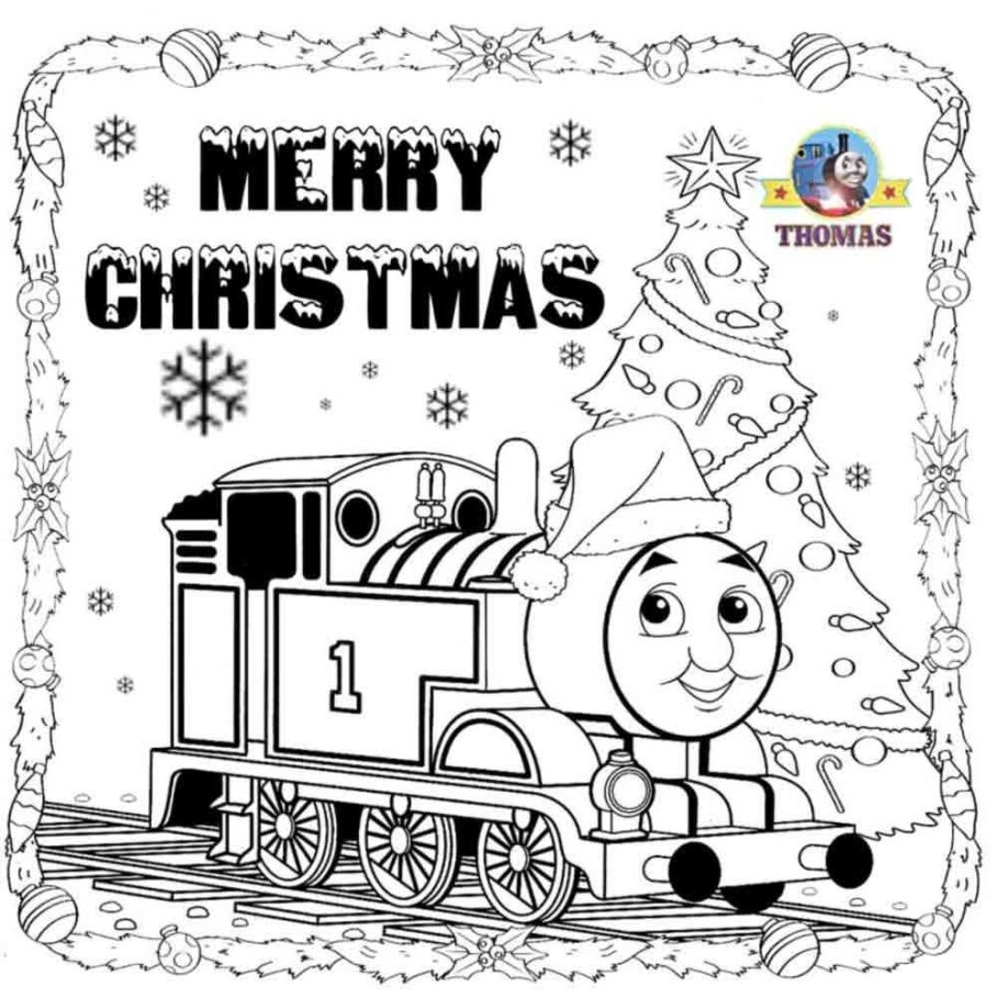 Santa Train Coloring Page With Beautiful Thomas The Tank Christmas Colouring Engine