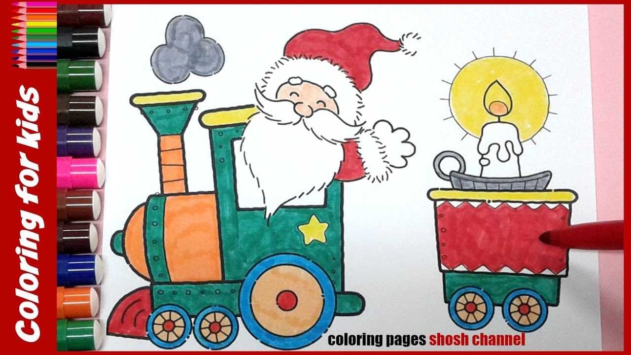 Santa Train Coloring Page With Christmas Pages Colouring Video From