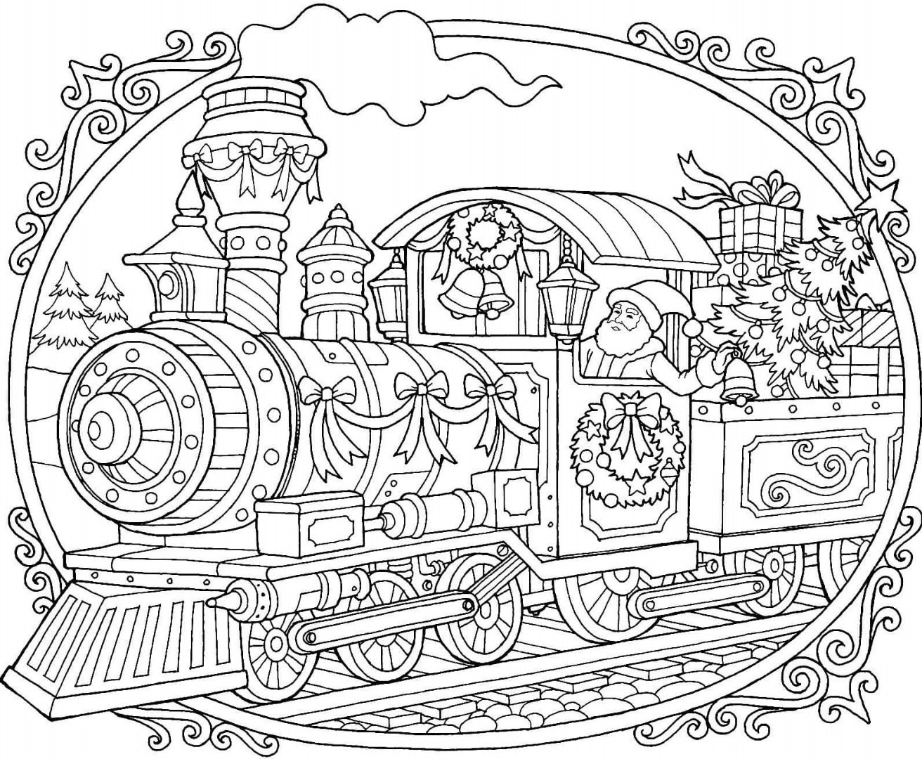Santa Train Coloring Page With Christmas Pages