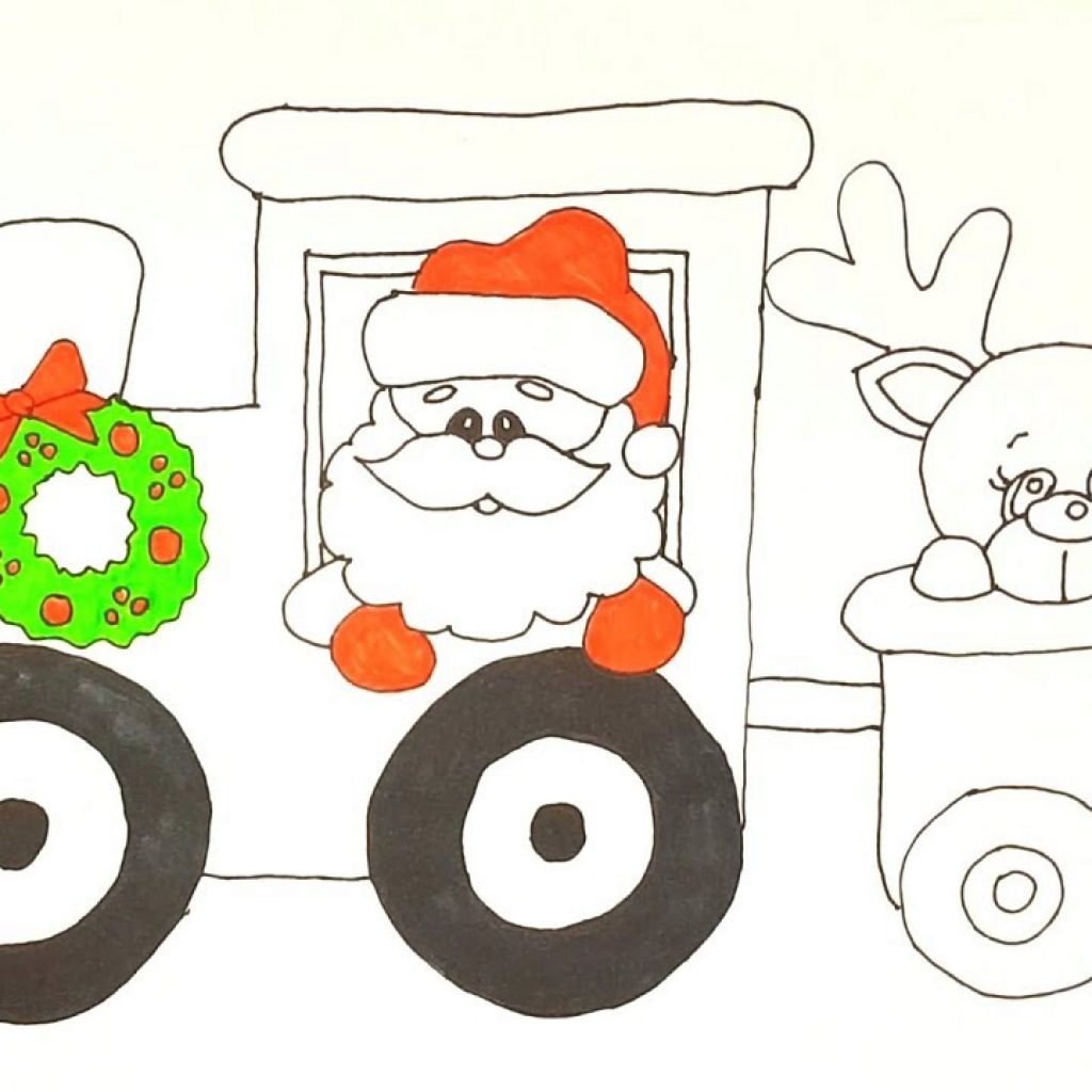 Santa Train Coloring Page With Claus On Pages How To Draw And