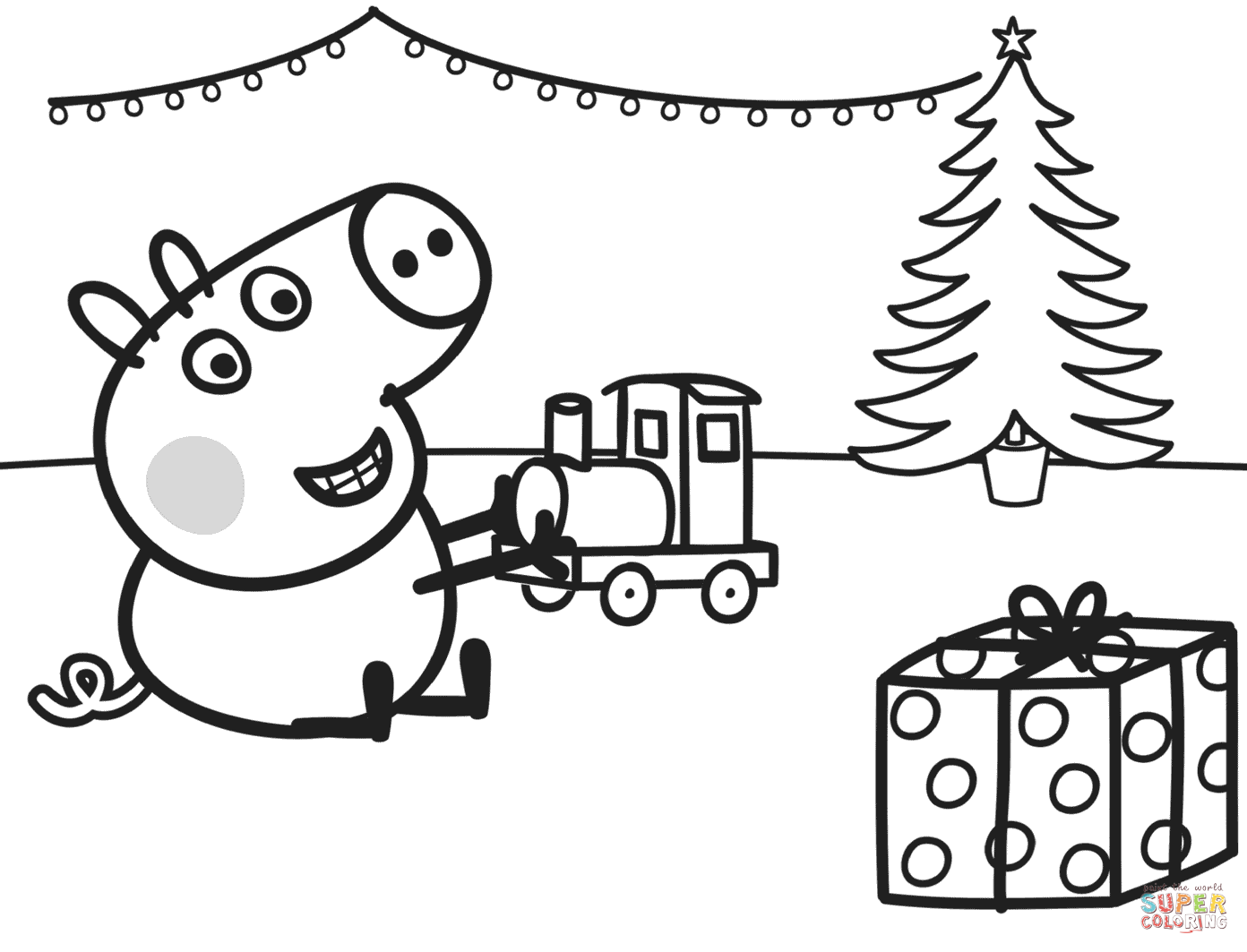 Santa Train Coloring Page With George Plays Xmas Free Printable