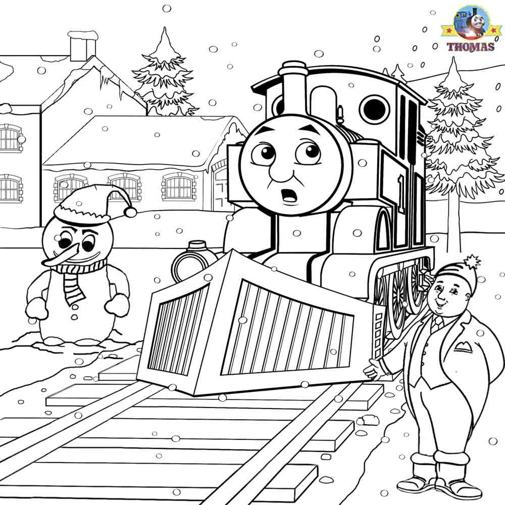 Santa Train Coloring Page With Printable Christmas Colouring Pages For Kids Thomas Winter Pictures