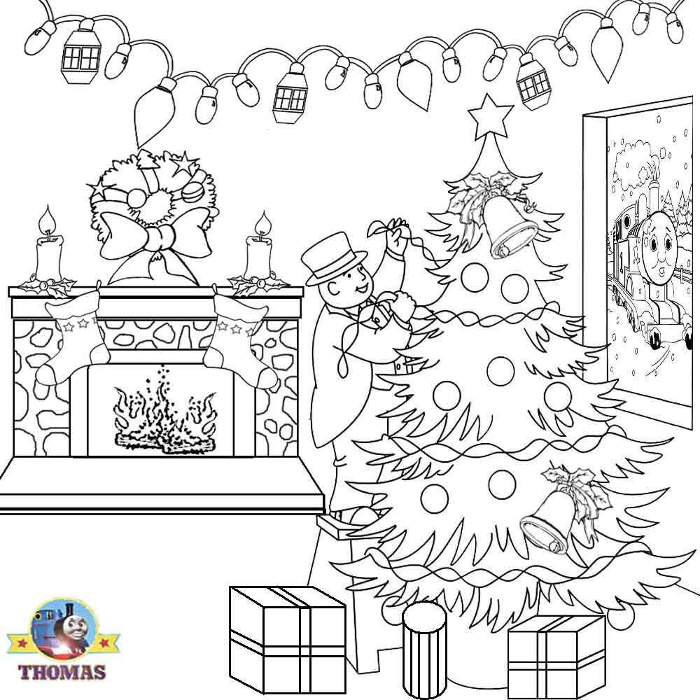 Santa Train Coloring Page With Thomas Christmas Sheets For Children Printable Pictures