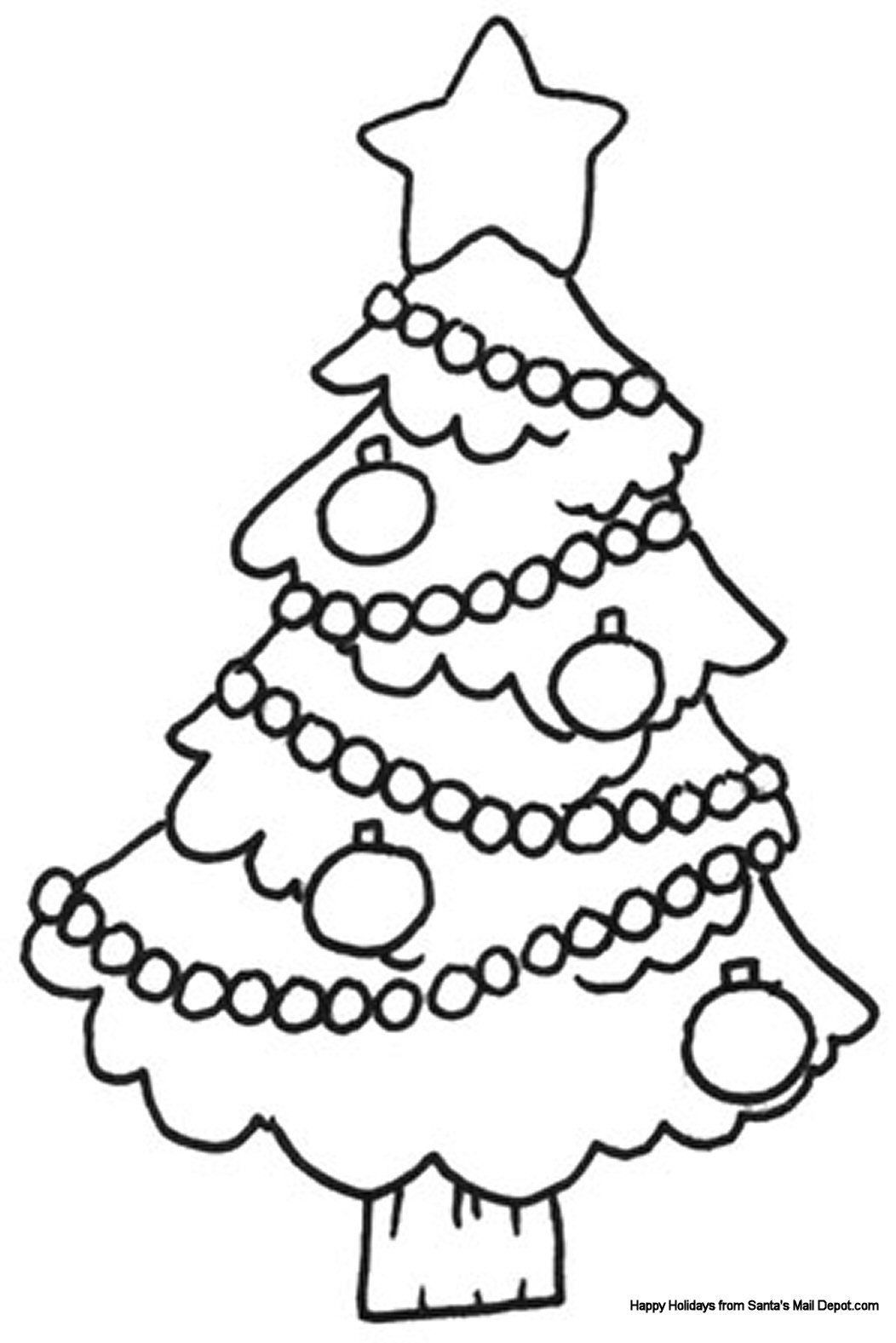 Santa Tree Coloring Page With Christmas Colouring Sheet Only Pages Pinterest