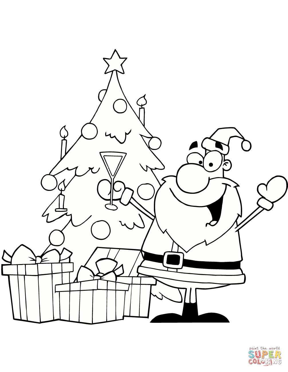 Santa Tree Coloring Page With Drinking Champagne By A Christmas Free