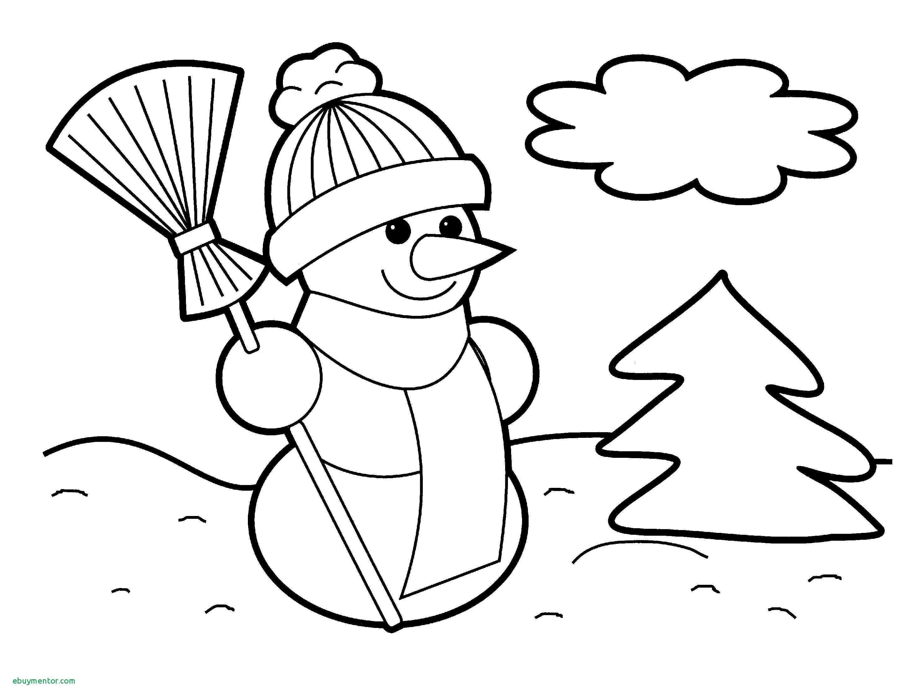 Santa Tree Coloring Page With Hat And Christmas