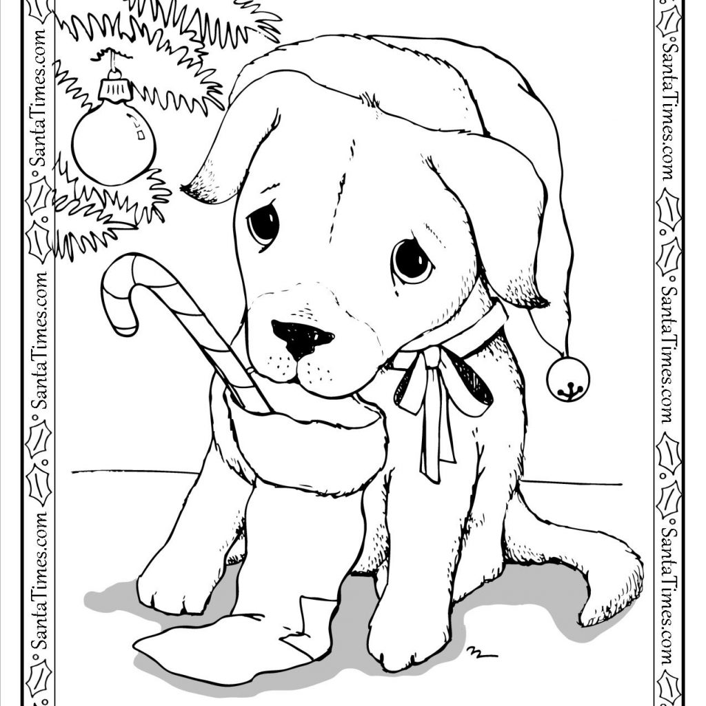 Santa Wish List Coloring Pages With Puppy Page