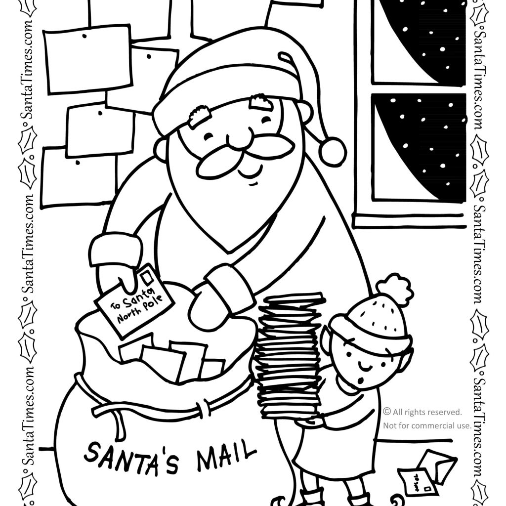 Santa Wish List Coloring Pages With S Mail Bag Page