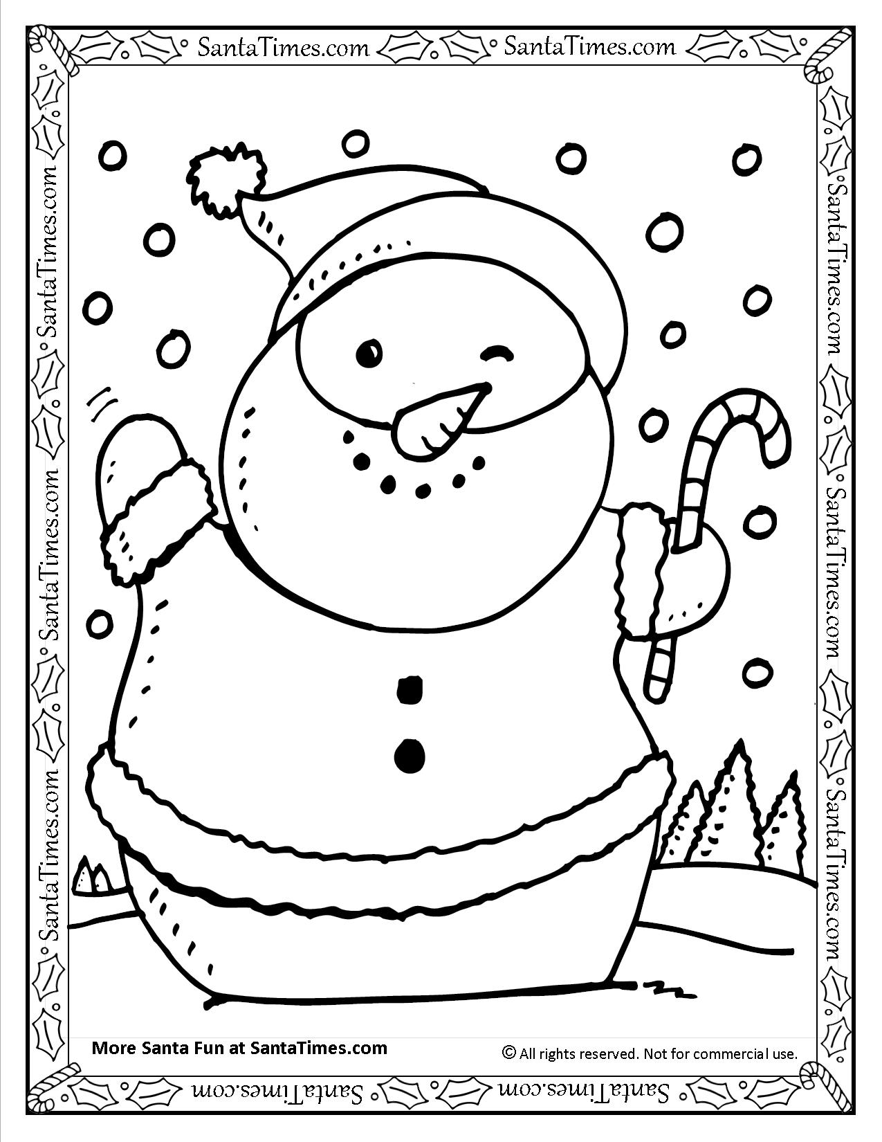Santa Wish List Coloring Pages With Snowman Printable Page