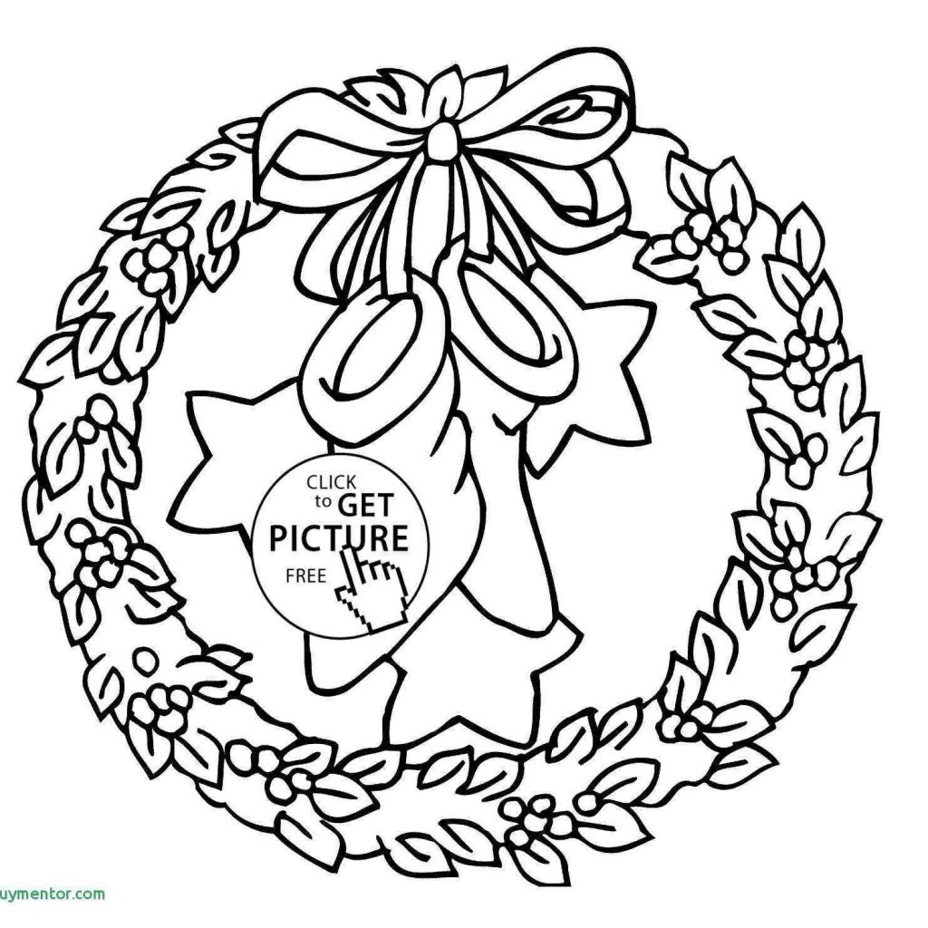 Santa Wreath Coloring Pages With Awesome Simple Christmas Drawing Prekhome