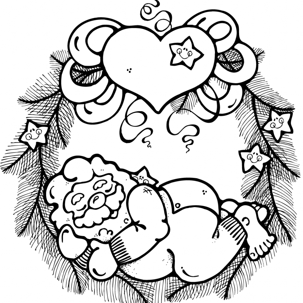 Santa Wreath Coloring Pages With Christmas Free