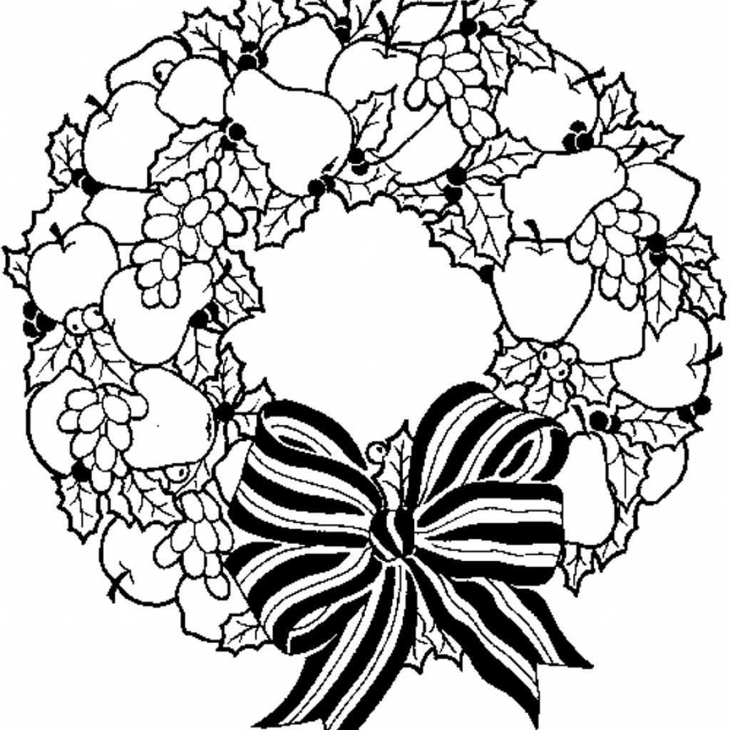Santa Wreath Coloring Pages With Christmas Page 1 Wordsare Me