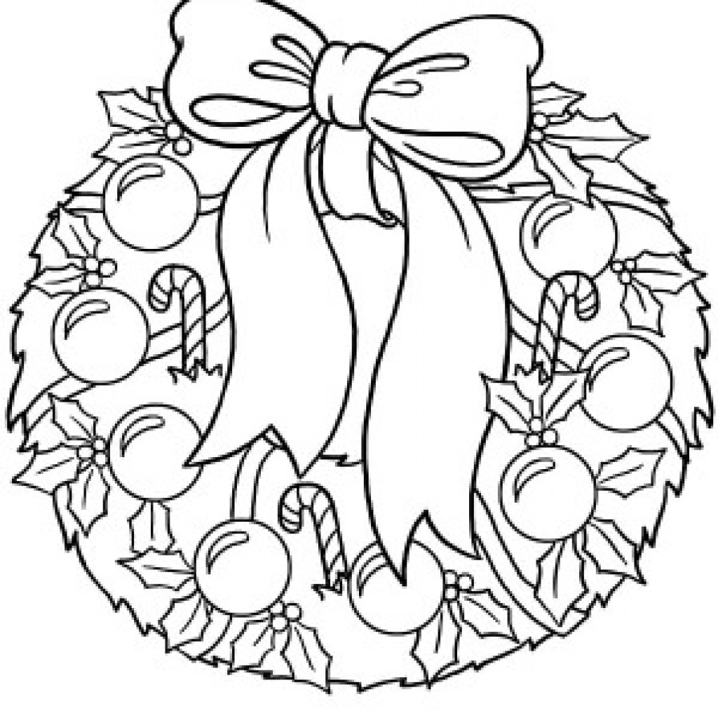 Santa Wreath Coloring Pages With Christmas Wreaths Page Free Download Regarding