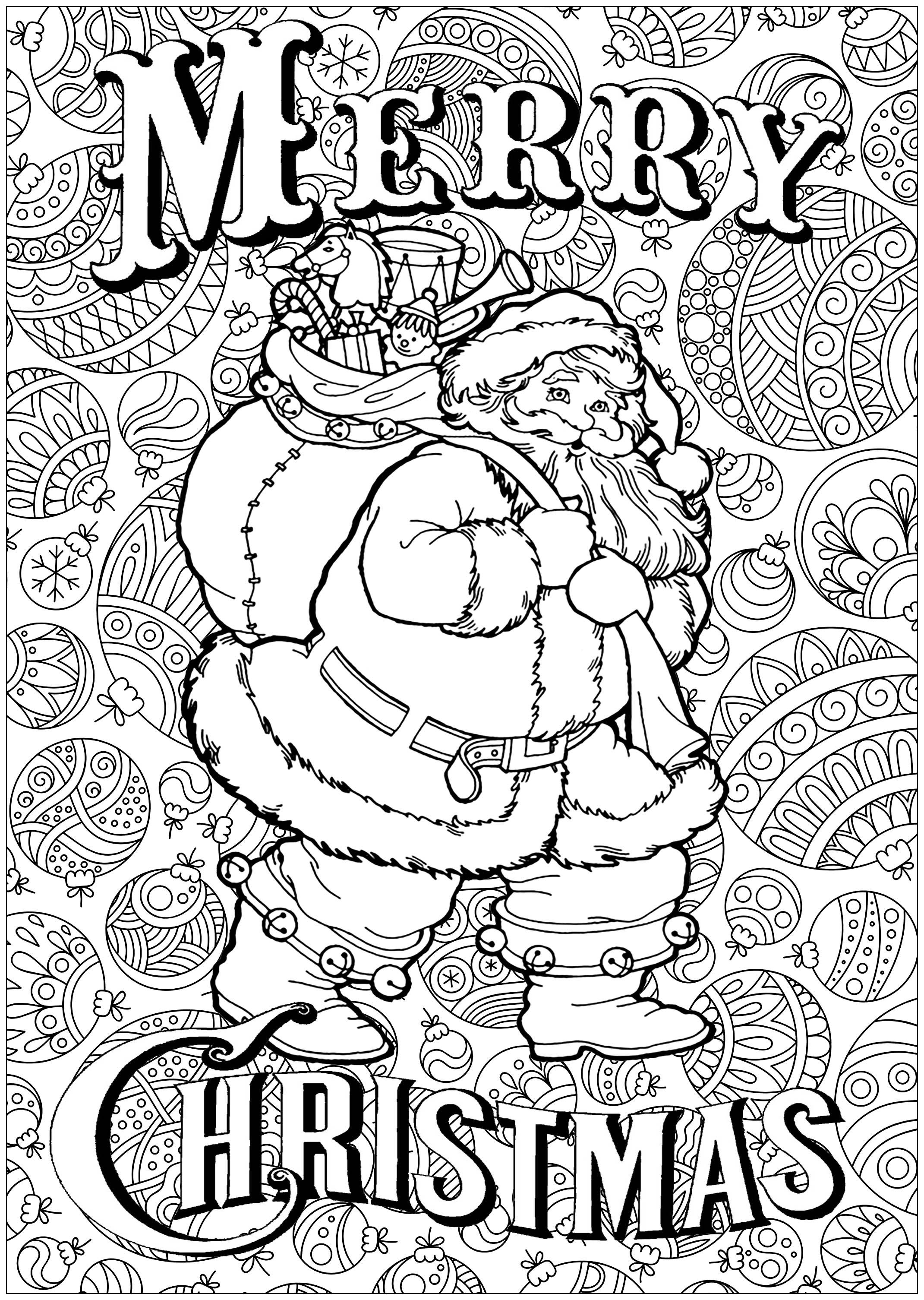 Santa Wreath Coloring Pages With Claus Text And Background From The Gallery Events