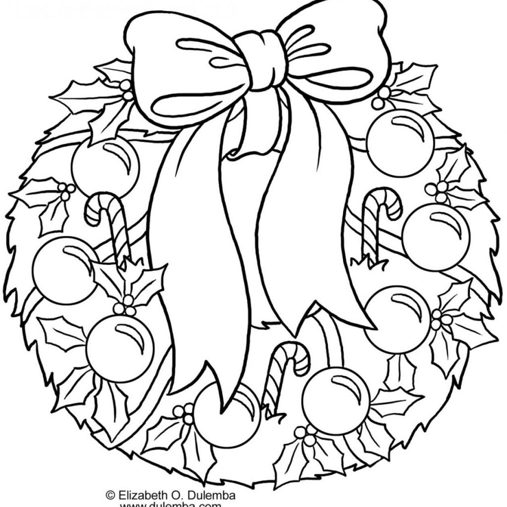 Santa Wreath Coloring Pages With Collect Christmas Getcoloringpages Kids