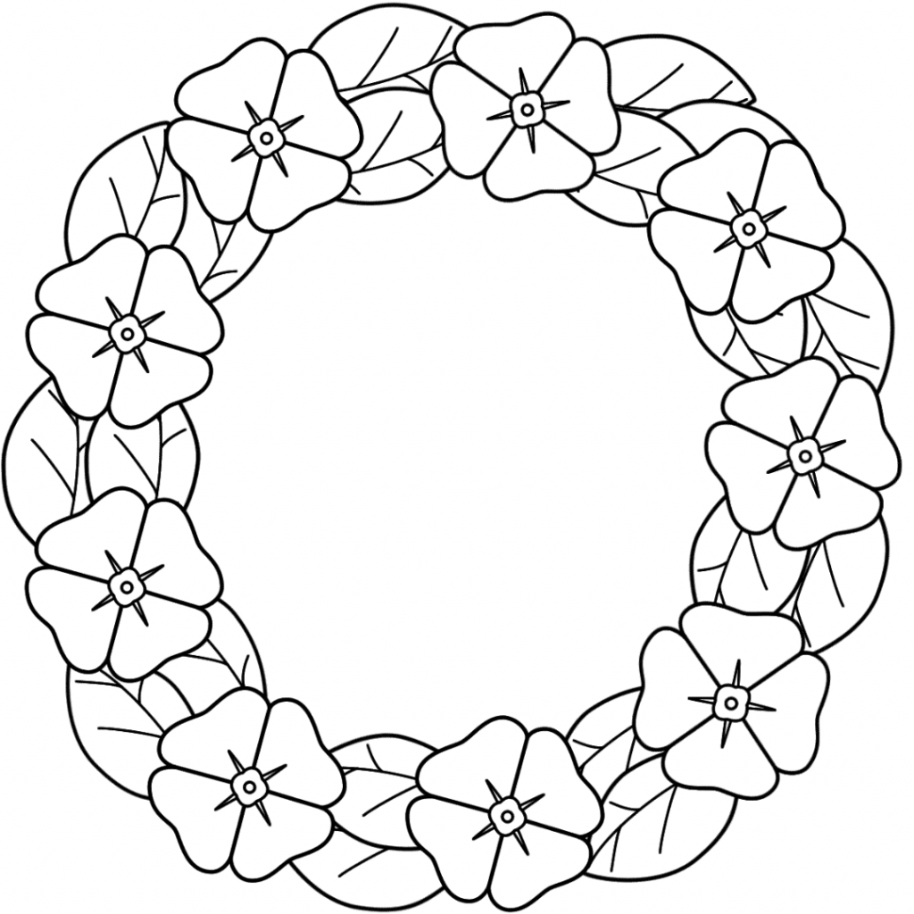 Santa Wreath Coloring Pages With Download And Print For Free