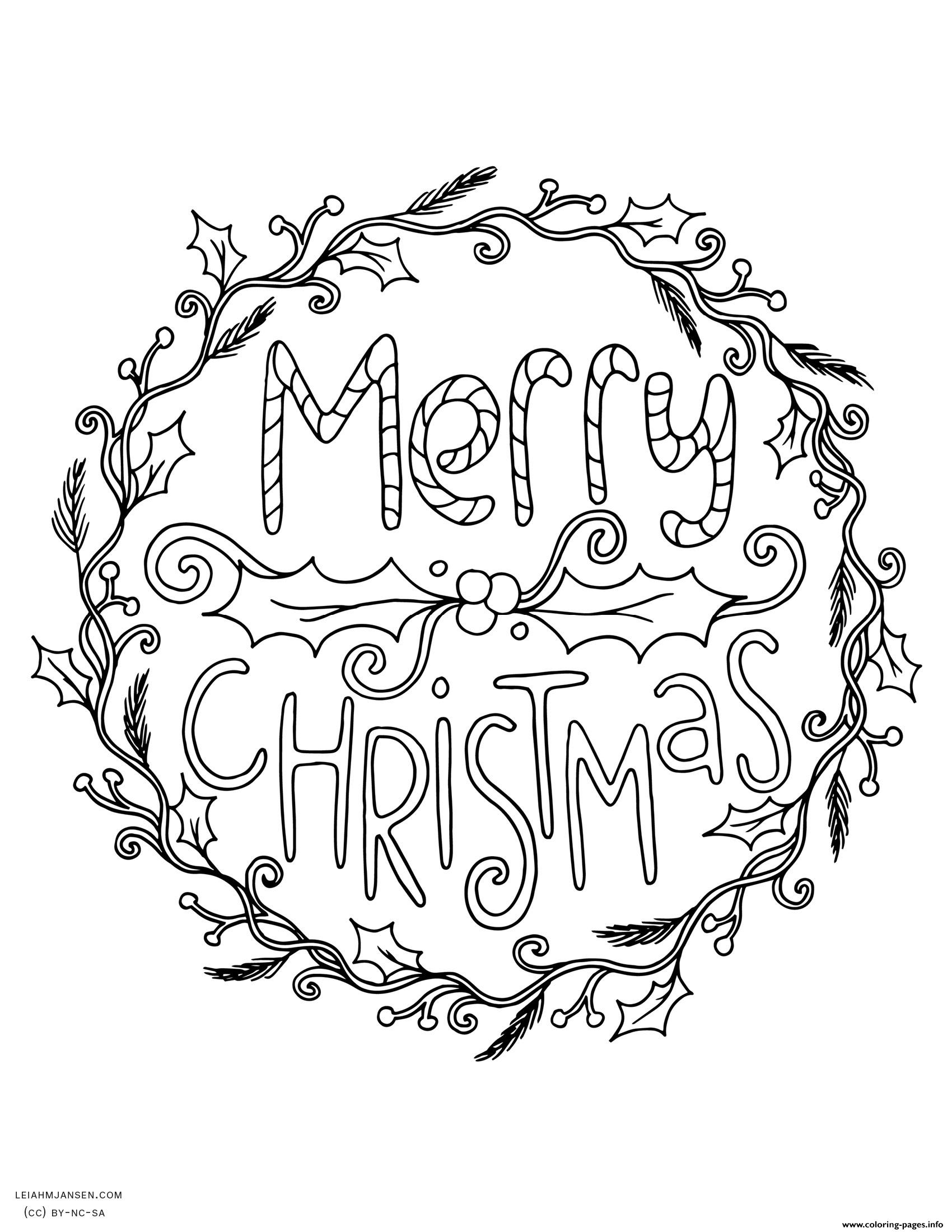 Santa Wreath Coloring Pages With Merry Christmas Adult Printable