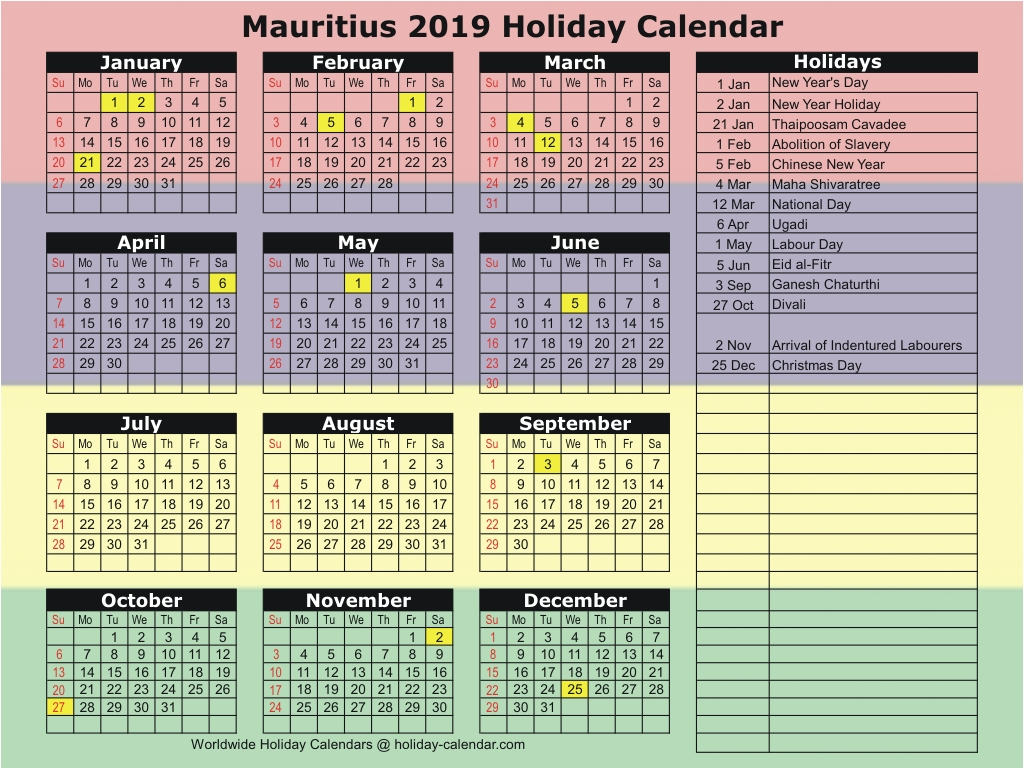 School Calendar Year 2019 Mauritius With 2018 Holiday