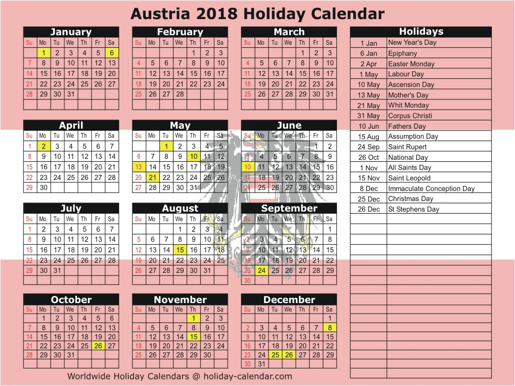 School Calendar Year 2019 Mauritius With Austria 2018 Holiday