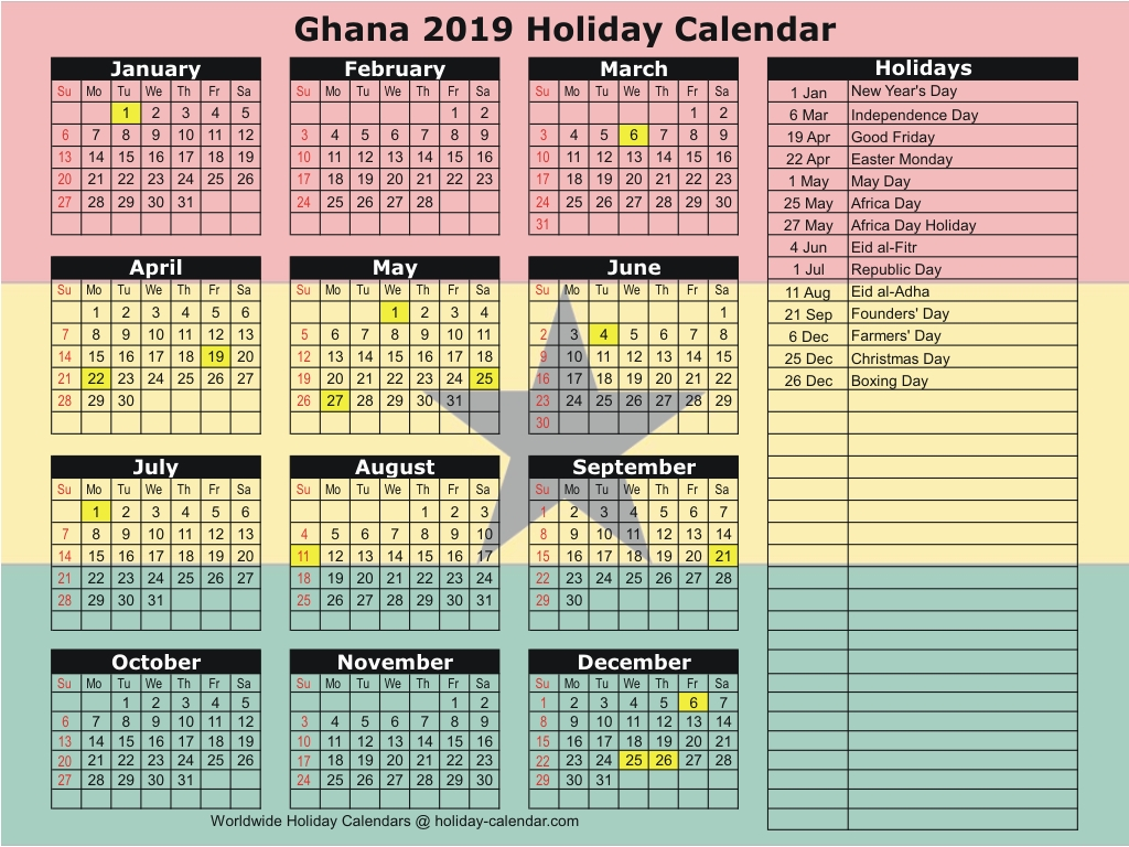 School Calendar Year 2019 Mauritius With Ghana 2018 Holiday