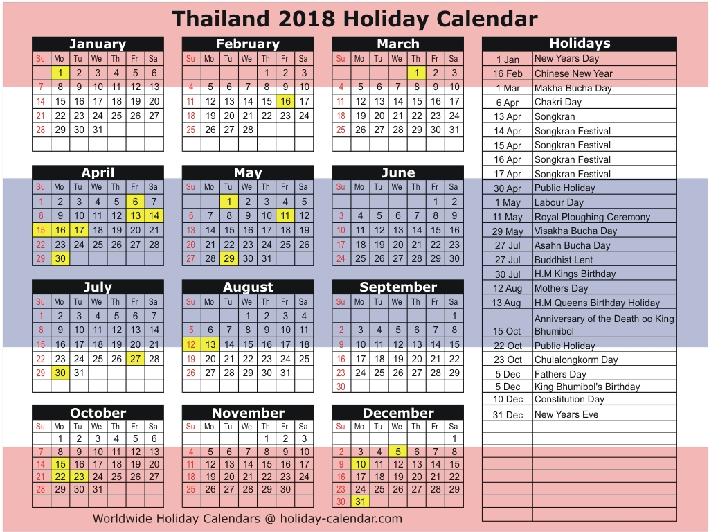 School Calendar Year 2019 Mauritius With Thailand 2018 Holiday
