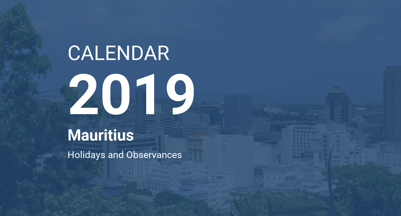School Calendar Year 2019 Mauritius With