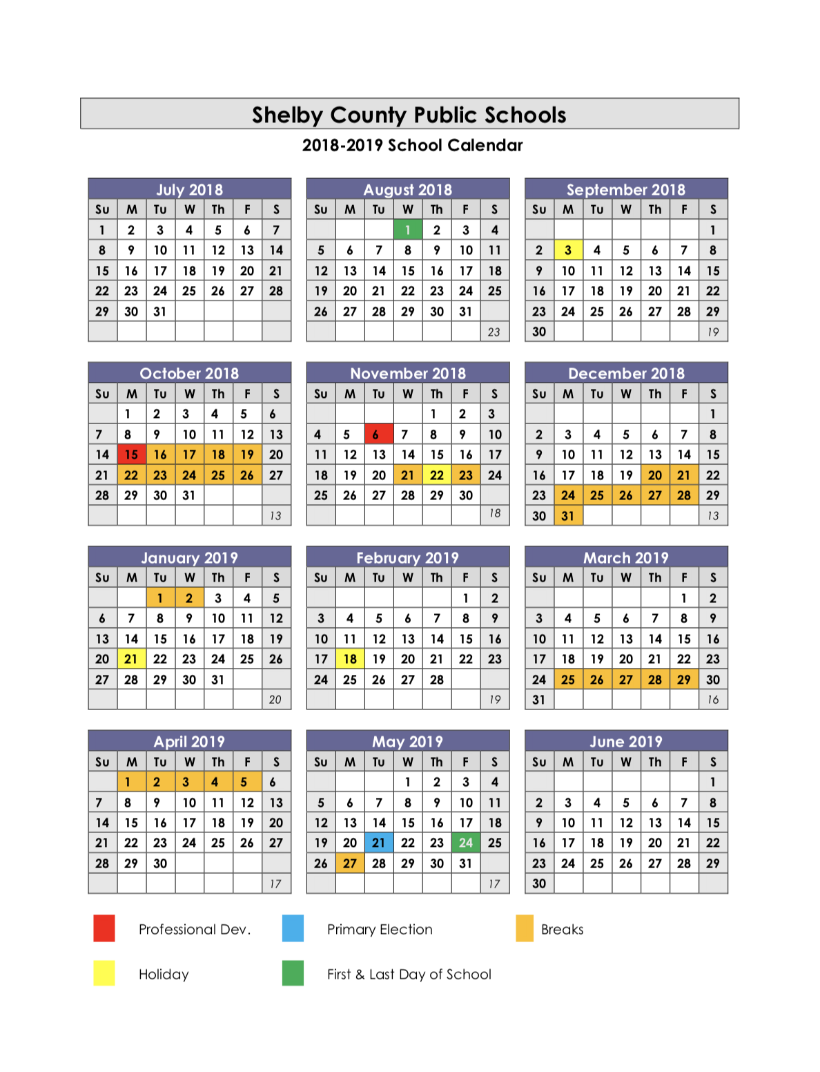 Ssc Year Calendar 2019 With School Calendars 2018