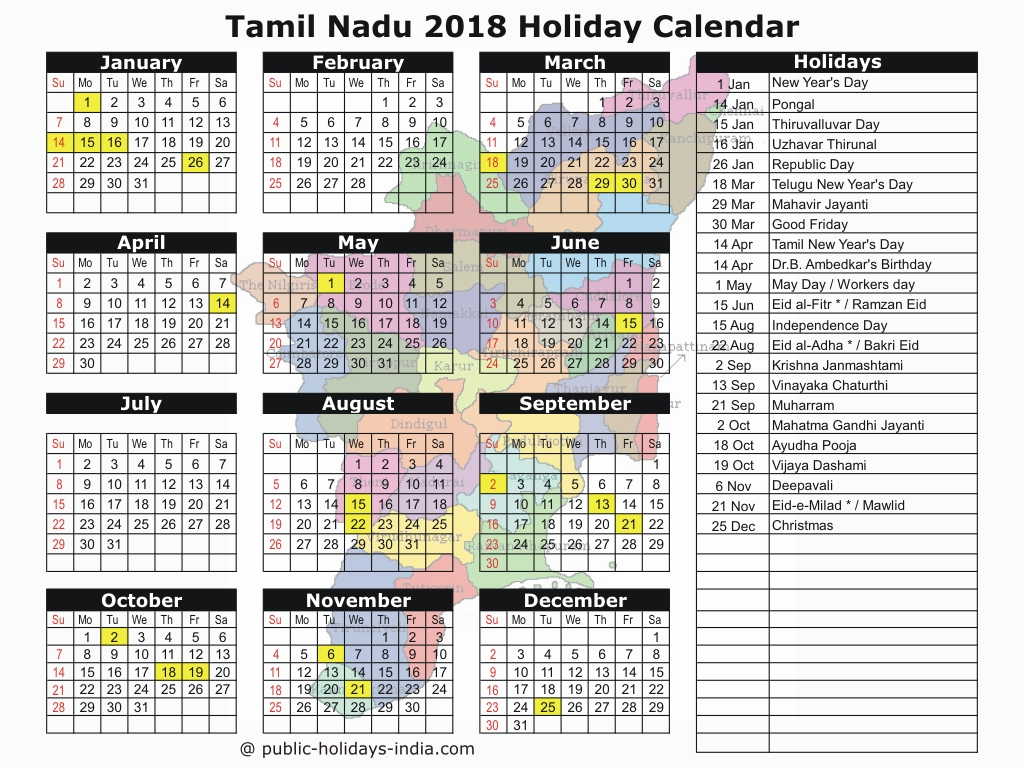 Tamil Year Calendar 2019 With Nadu Public Holiday 2018