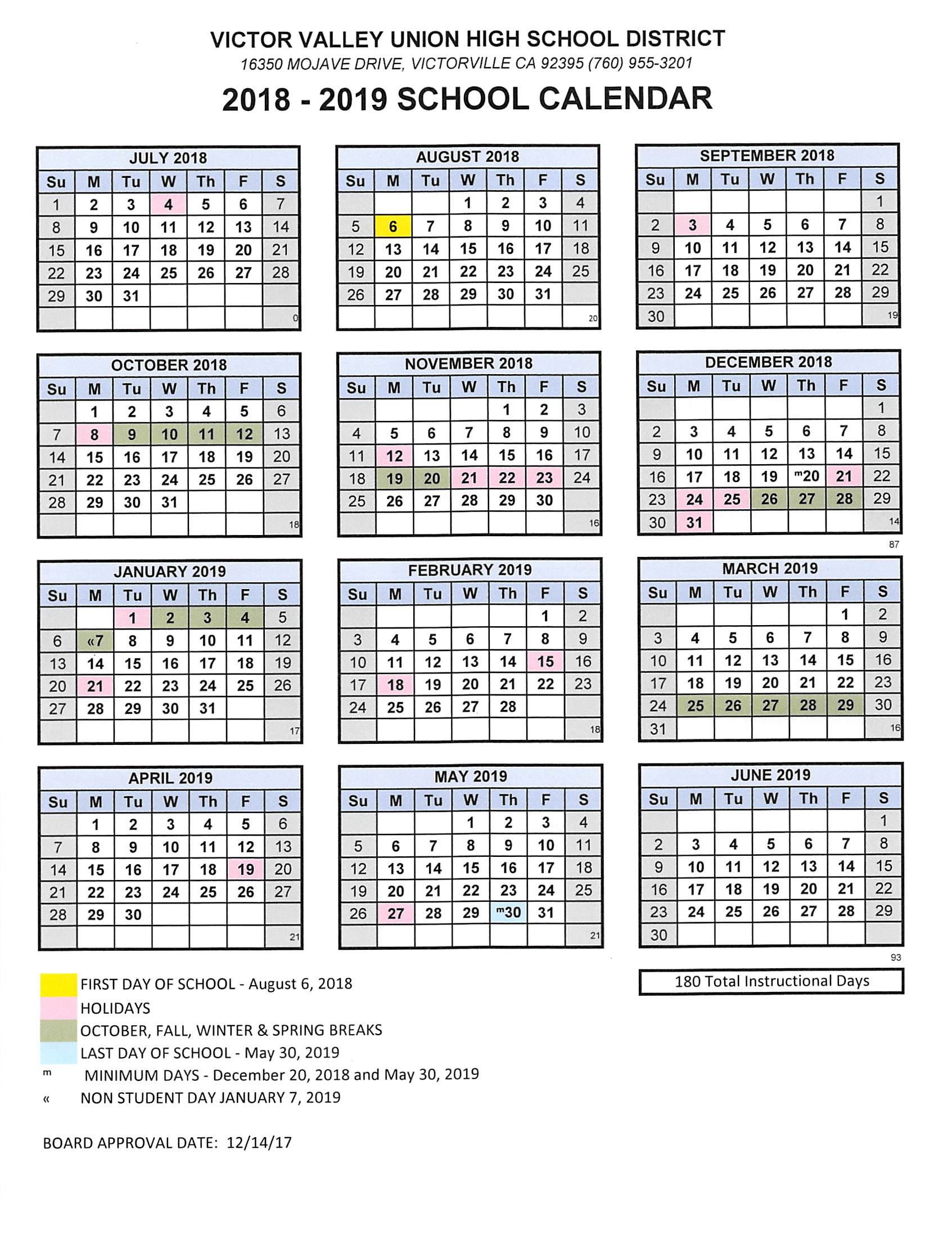 Total 2019 Calendar Year Working Days With 2018 19 School Adelanto High