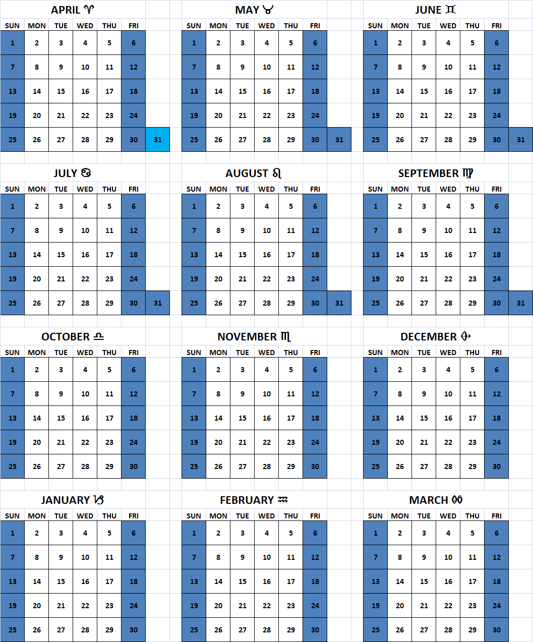 Total 2019 Calendar Year Working Days With 6 Day Week Solar Common Muslim Christian Weekend