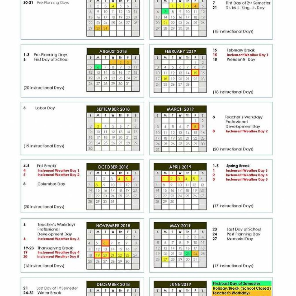 Total 2019 Calendar Year Working Days With DeKalb County Schools 2018 The Aha Connection