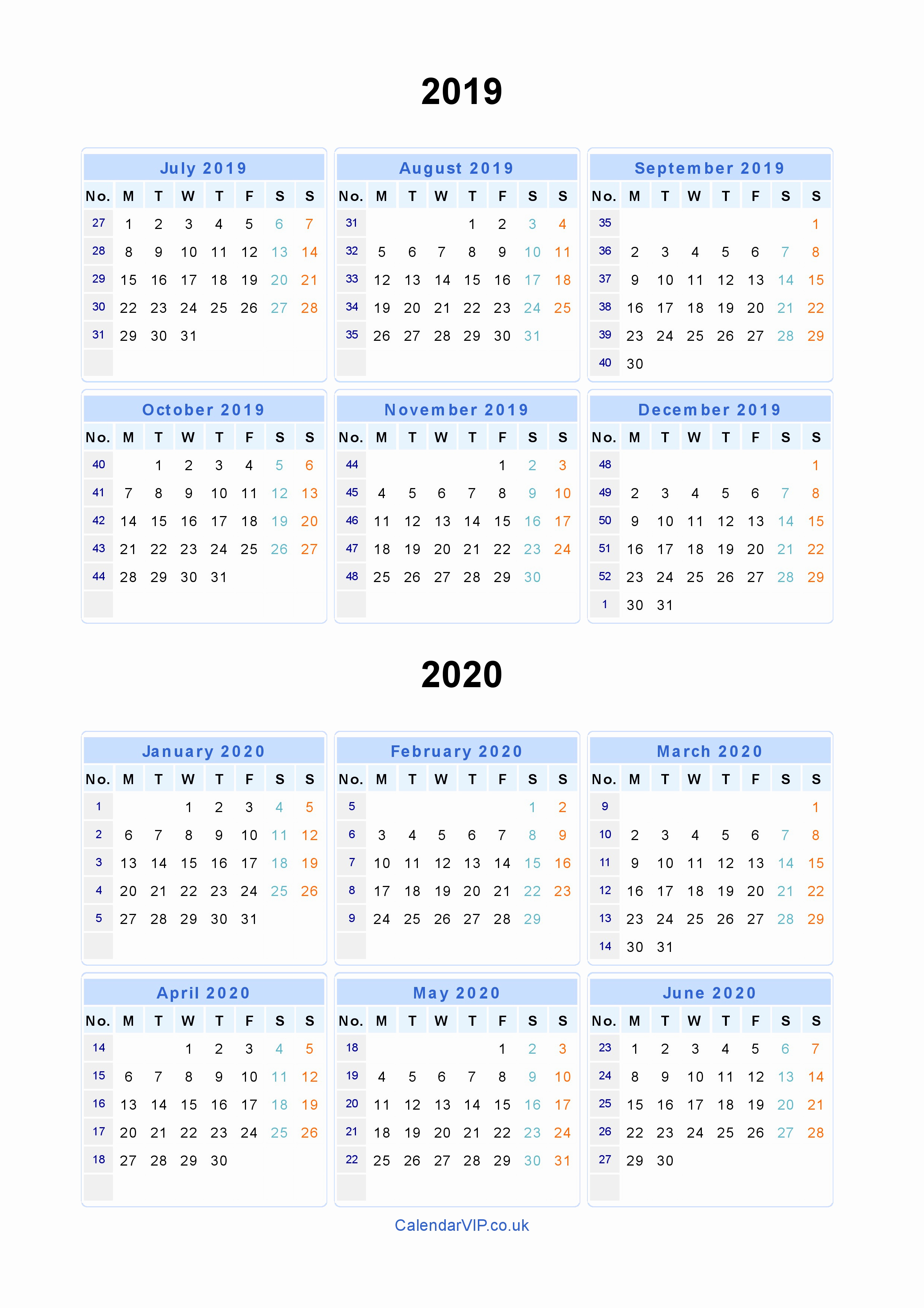 Two Year Calendar 2019 And 2020 With Calendars For Uk Pdf Split