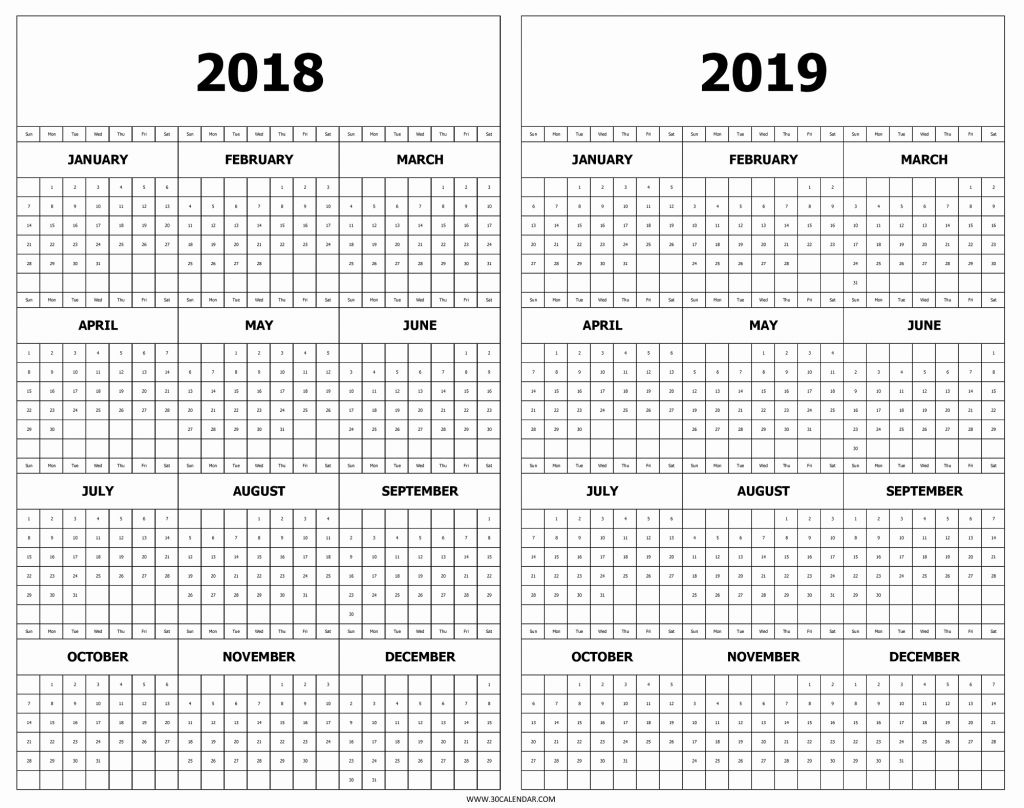 Two Year Calendar 2019 And 2020 With Excel 2018 Free Printable