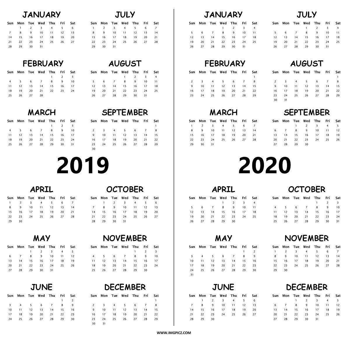 graphic about Printable Word Calendar identify 2 Calendar year Calendar 2019 And 2020 With Cost-free Printable Term