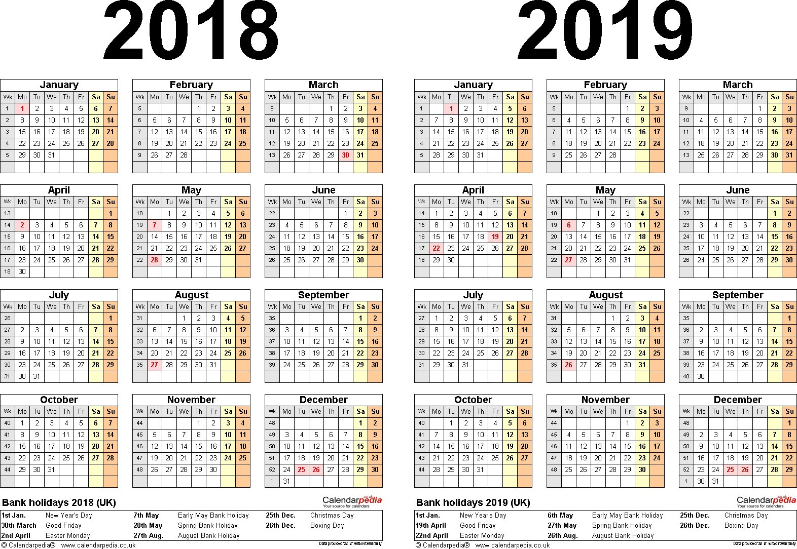 Two Year Calendar 2019 And 2020 With Three Yearly 2021